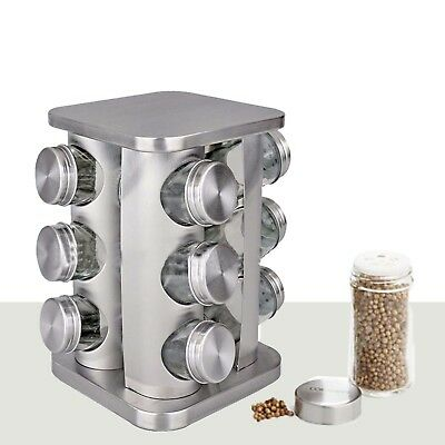 12 Piece Revolving Glass Spice Jar Rack Set Kitchen Home Cooking Chef Food New