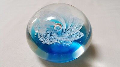 Vintage Controlled Bubble Clear Art Glass Paperweight Teal & White Flower