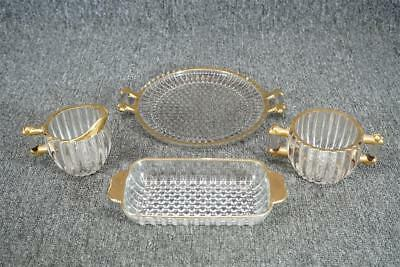 Jeannette National Pattern Creamer, Sugar Bowl, Round Tray & Serving Dish 1940S
