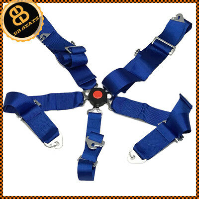 Blue 5 Point Racing Harness Quick Release Camlock Latch Clip Fitting + Eyelets
