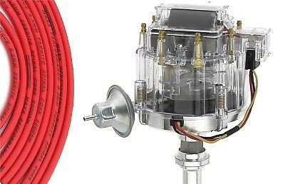 45K Coil+Spark Plug Wires CHRYSLER 318-360 RED Small Female cap HEI Distributor