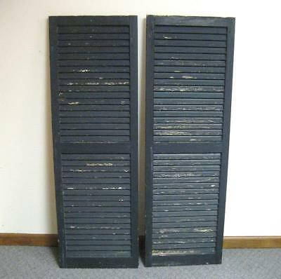 Vtg Wooden Painted Black Louvered House Window Shutters Shabby Old Chic