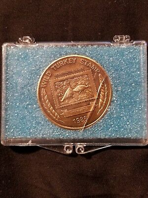1986 encased wild turkey stamp coin