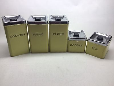 Vintage Mid Century Garner Ware 5pc. Yellow And Chrome Tin Canister Set