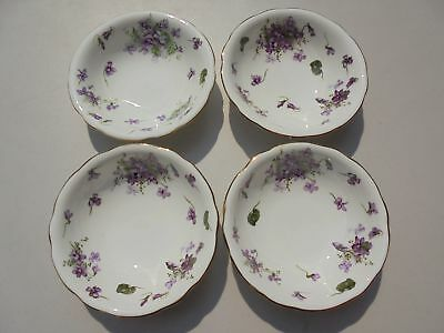 "Set of 4 Hammersley Victorian Violets Cereal Bowls 6 5/8"" Excellent Set #2"