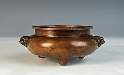 Small Old Chinese Bronze Footed Censer With Mask Handles And Mark