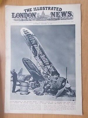 WWII ILLUSTRATED LONDON NEWS - JANUARY 25th 1941 - ITALIAN FIGHTER SHOT DOWN