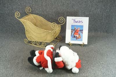 Fabric Santa & Metal Wireframe Gold Colored Sleigh With Night Before Christmas