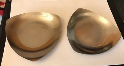 2 Vtg Olde Old Hall Brushed Stainless Steel Triangular Mid-Century Tricorn Dish