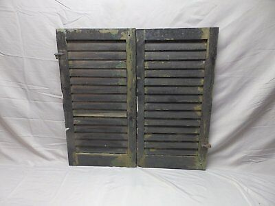 Pair Vtg Small House Window Wood Louvered Shutters Shabby Old Chic 30x16 33-18P