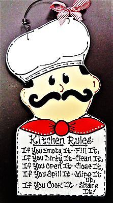 FAT CHEF Kitchen Rules Sign Plaque Bistro Cucina Wall Hanger Italian Home Decor