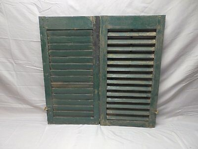 Pair Vtg Small House Window Wood Louvered Shutters Shabby Old Chic 29x16 34-18P