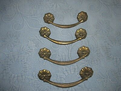 4 Vintage Aged Brass Metal Drawer Handles or Pulls & Screws