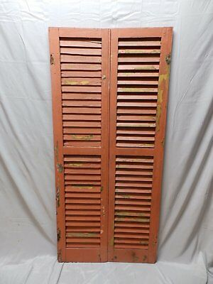 Pair Vtg House Window Wood Louvered Shutters Shabby Old Chic 61x14 40-18P