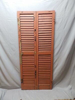 Pair Vtg Red House Window Wood Louvered Shutters Shabby Old Chic 67x14 44-18P