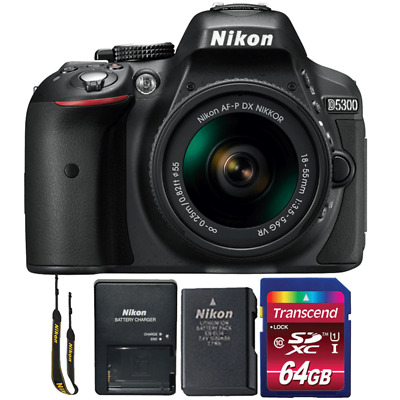 Nikon D5300 24.2MP DSLR Camera with 18-55mm Lens and 64GB Memory Card