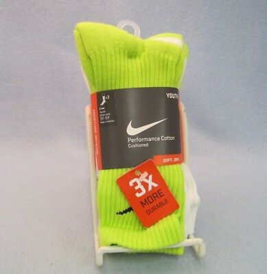 NIKE Performance Cotton Cushioned Crew Socks 3-Pack SX4719-979 Sz 3Y-5Y
