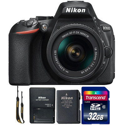 Nikon D5600 24.2MP DSLR Camera with 18-55mm Lens and 32GB Memory Card