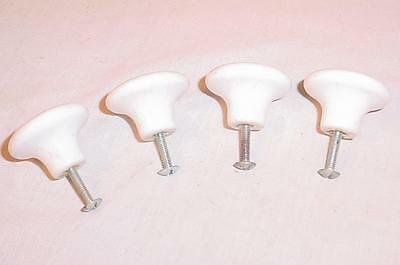 "Set Of 4 Vintage White Porcelain 1 1/2"" Diameter Door Pulls Made In Japan"