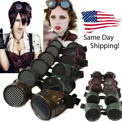 Steampunk Goggles Realistic Cosplay Distress Vintage Glasses Welding Cyber Punk
