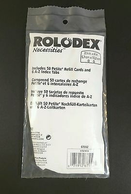 "(Sealed NIP) Rolodex Necessities Pack of 50 2 1/4"" Refill Cards w/ 6 A-Z Tabs"