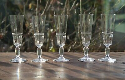Set of 5   Antique Baccarat French crystal Champagne flutes   19 thC