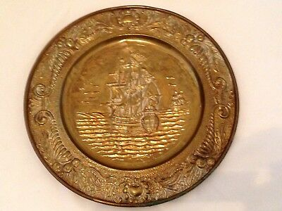Vintage Large Round Brass Embossed Wall Plaque - Galleon Ship Design