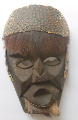 Authentic Vintage Handmade Michoacan Carved Wood King's Day Mask Statue Folk Art