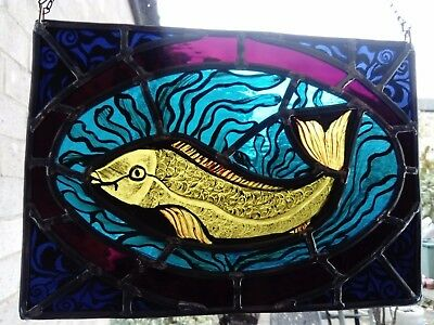 """For Good Luck Victorian Style Fish  - Stained Glass 12 x 8.5 """"(32 x 22 cm) with"""