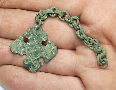 Ancient Viking Bronze cross pendant AMULET GREAT SAVE  amazing conditio