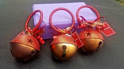 Three Beautiful Large Bell Christmas Ornaments by St. Nicholas Square New