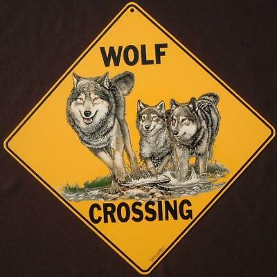 WOLF CROSSING Sign aluminum novelty decor wolves painting signs home wildlife