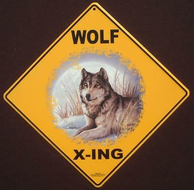 WOLF X-ING Sign aluminum picture decor wolves novelty signs animals wildlife art