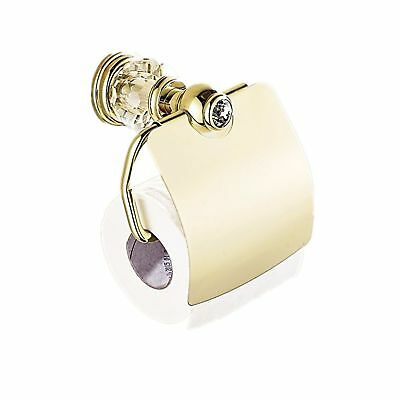 AUSWIND Antique Gold Toilet Paper Holder Brass Polish Finished Crystal & Glas...