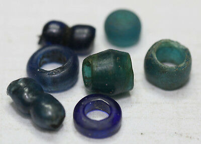 Viking BEADS ANCIENT blue GLASS BEADS 6 pc  BIG SIZE rare color