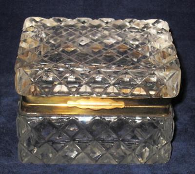 Baccarat Crystal Unsigned, Diamond Cuts, 1930's Clear Crystal Jewelry Casket