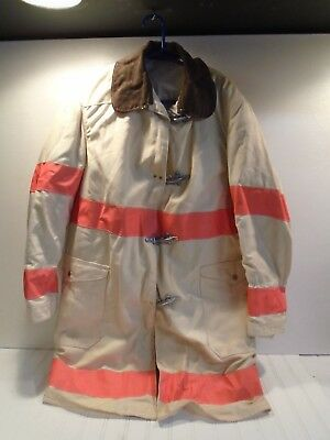 Vintage Globe Fire Turnout Coat White Fire Chief 1970s size 42