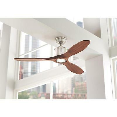 New Indoor Real Wood Frosted Glass LED Light Brushed Nickel Ceiling Fan 3-Blades