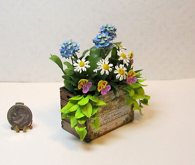 Dollhouse Miniature Handcrafted Flowers in Wine Crate by Judy Travis