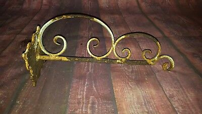 Antique Vintage Cast Iron Wall Bracket White Hanging Basket Salvaged Garden