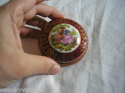 "Limoges Meissner France Fine Porcelain Trinket Pot ""Fragonard Lovers"" Red Go"