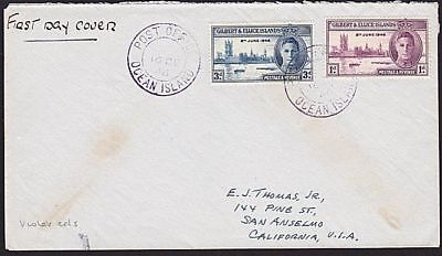 GILBERT & ELLICE IS 1946 cover to USA, OCEAN ISLAND cds in violet..........68791