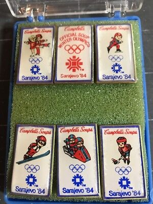 Vintage Campbell's Soup Kids Olympic Pins Sarajevo 1984 Winter Olympics NIB