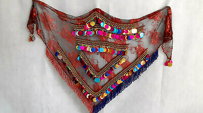 New Egyptian Professional  Belly Dance Hip Scarf , Bead Coins, luxury 73647