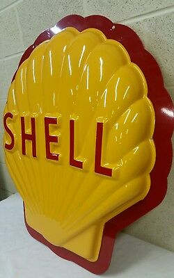 Big Single Sided Shell Gasoline Oil Sign With Steel Back. Nice!!!!