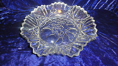Vintage Federal Clear Glass Fruit Bowl Ruffled Edge