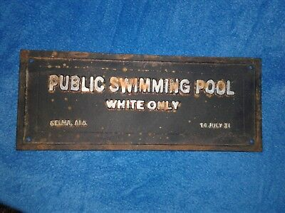 """RUSTIC Black Segregation PUBLIC SWIMMING POOL WHITE ONLY Sign Plaque Iron 14"""""""