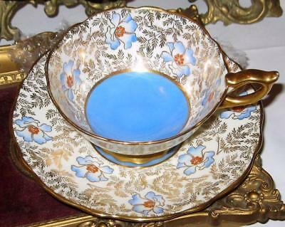 Royal Stafford HPT Blue and Red Beaded Floral Gold Chintz Tea Cup and Saucer