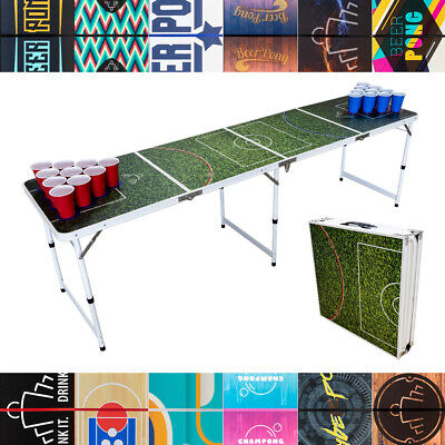 BEER PONG TABLE 8ft FOLDING - 7 Designs Available | Party Drinking Game New Year