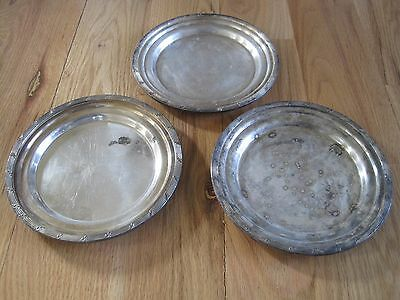 """Lot of 3 Thick Silver Plate Dinner Plates """"The Madison""""  By International Silver"""